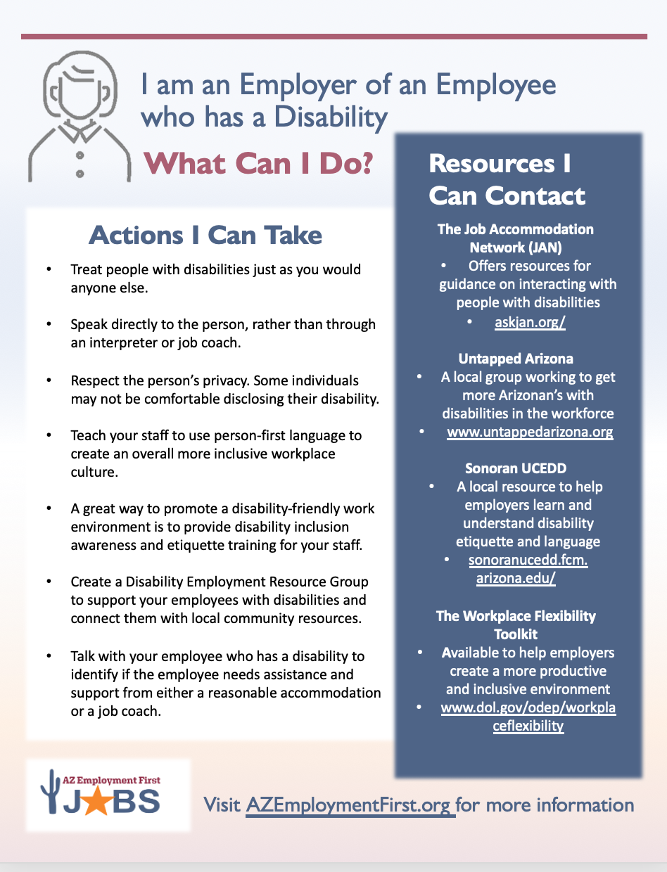 Flyer with resources and action steps for employers