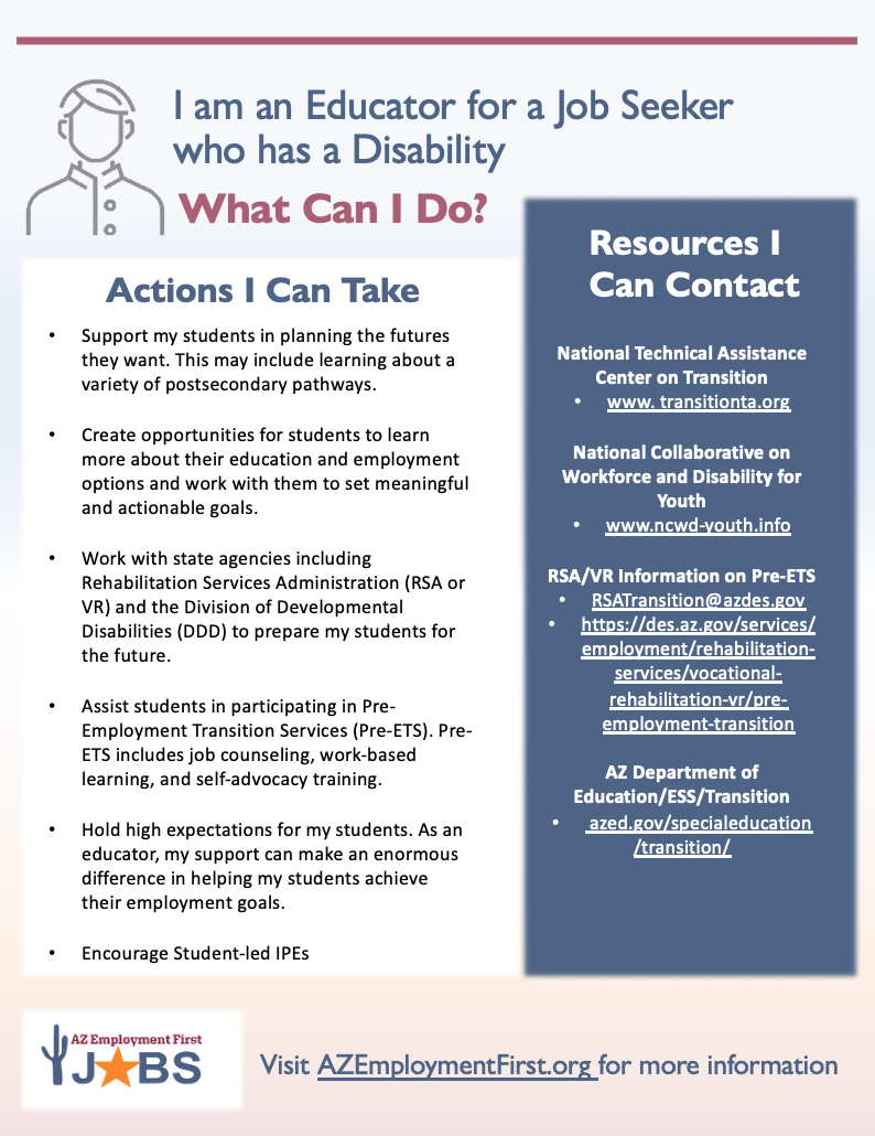 Flyer with resources and action steps for educators