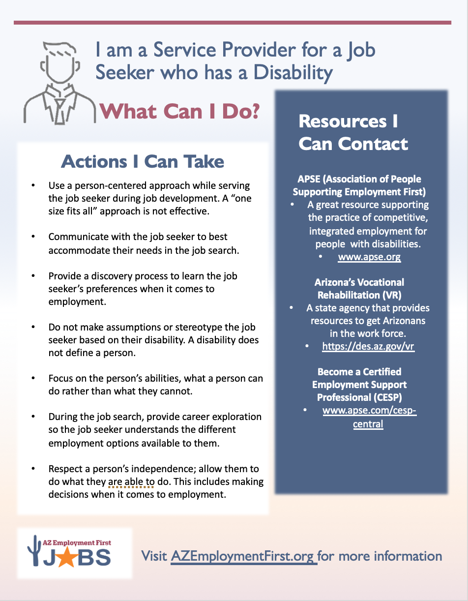 Flyer with resources and action steps for service providers